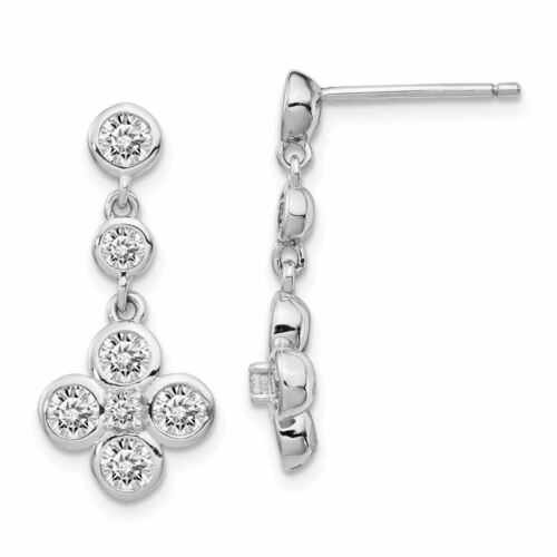 Details about  /Sterling Silver Polished CZ Post Dangle Earrings MSRP $66