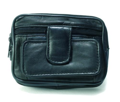 Nouveau cuir homme ceinture//poignet sac portefeuille caméra handy poches par Lorenz 1483