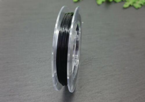 Artesanías 10m Carrete Elástico claro 0.8mm Negro fuerte Elástica Abalorios Elástico