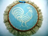 Homemade Wall Hanging White Lace Rooster Over Blue Background On Embroidery Hoop
