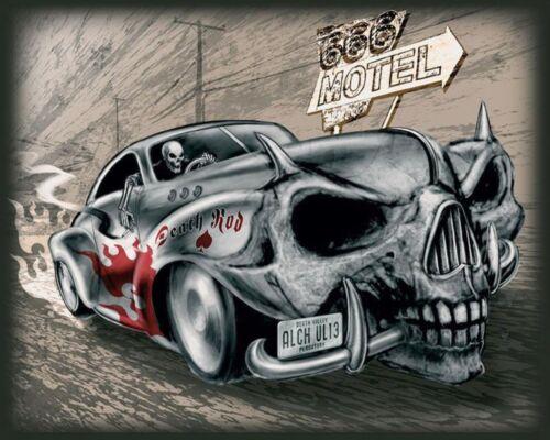 """10/"""" x 8/"""" Alchemy Gothic 666 Motel mort Rod Voiture UL13 Métal Plaque Murale Signe 1212"""