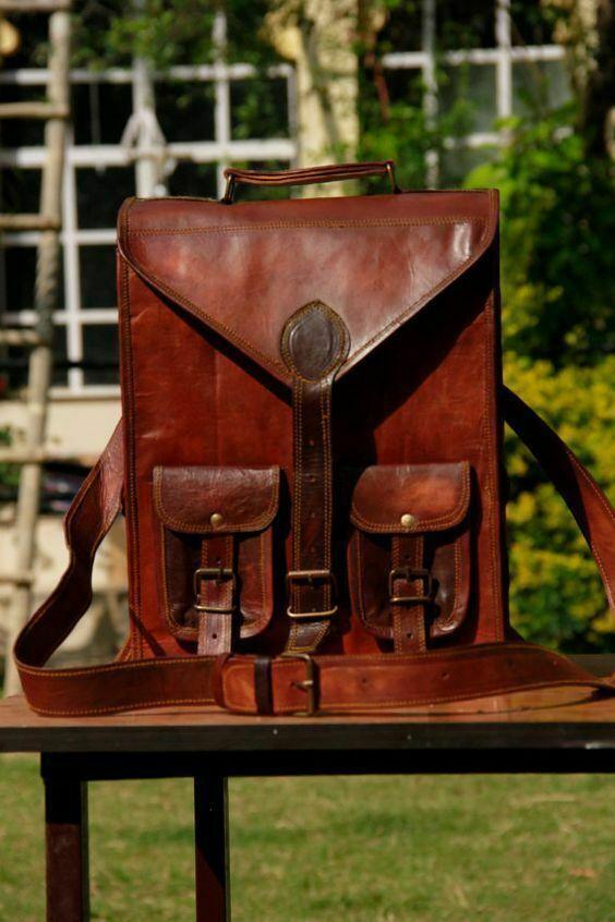 Vintage Bag Backpack Leather Laptop Rucksack Genuine Satchel Men's Brown Travel