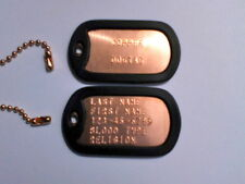 COPPER STANDARD MILITARY DOG TAGS EMBOSSED WITH YOUR TEXT INFORMATION
