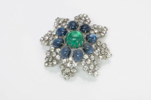 Arnold Scaasi Couture Faux Emerald Sapphire Caboc… - image 1