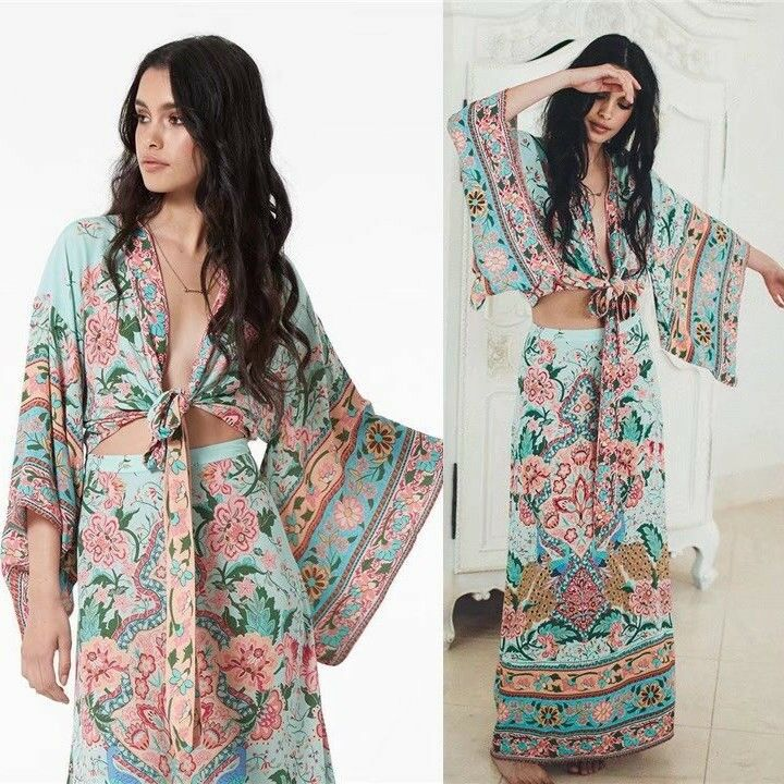 WOMEN FLORAL print BOHO maxi dress vintage Hippie ethnic Kimono Sleeve 2pc New Y