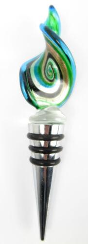 Flaschenstöpsel GRÜN Glas Murano Stil Flaschenverschluss Glasverschluss