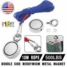 Us 500lbs Big Fishing Magnet Kit Pulling Force Strong Neodymium Rope Carabiner