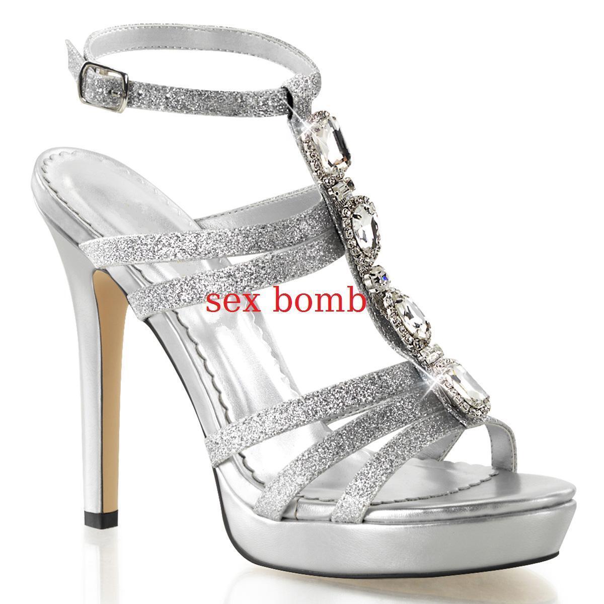 SEXY sandali sandali sandali MAXI strass GLITTER tacco 12 dal 35 al 41 plata plateau GLAMOUR  presentando toda la última moda de la calle