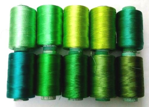 LOT of 10 GREEN 150//2 Denier Viscose Rayon Thread Yarn-Hand /& Machine Embroidery