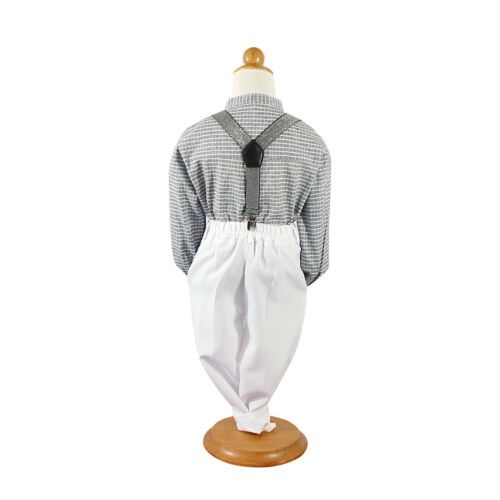 Baby page Boys 3pcs Formal Wedding smart suit set pant+check Shirt+brace
