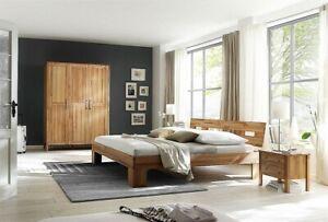 Details zu Schlafzimmer komplett 4teilig Bett 140x200 Schrank 3tür Holz  Kernbuche massiv öl