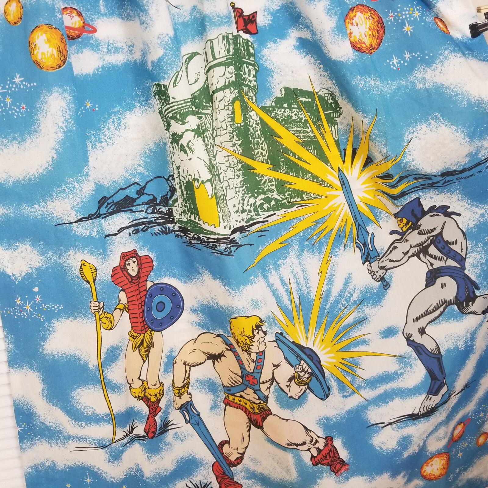 Vintage 1983 He-Man Masters of the Universe MOTU Curtains Drapes 2 Panels Crisp
