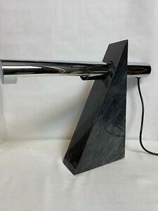 RARE-Robert-Sonneman-For-George-Kovacs-Marble-Chrome-Desk-Table-Lamp-Vintage