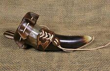 Set Trinkhorn 200ml+Halter +Abdeckung Thors Hammer Leder braun Horn Wikinger