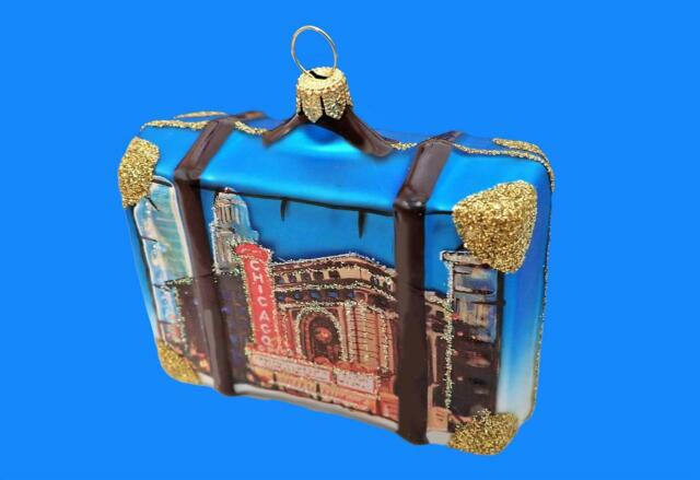CHICAGO VACATION SUITCASE LUGGAGE TRUNK GLASS CHRISTMAS ...