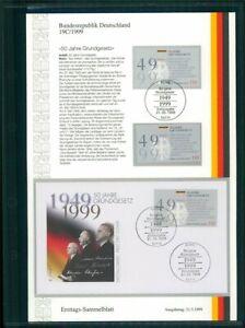 BRD-ETSB-1999-19C-ERSTTAGS-SAMMELBLATT-50-JAHRE-GRUNDGESETZ-ADENAUER
