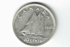 CANADA-1946-10-CENTS-DIME-KING-GEORGE-VI-CANADIAN-800-SILVER-COIN