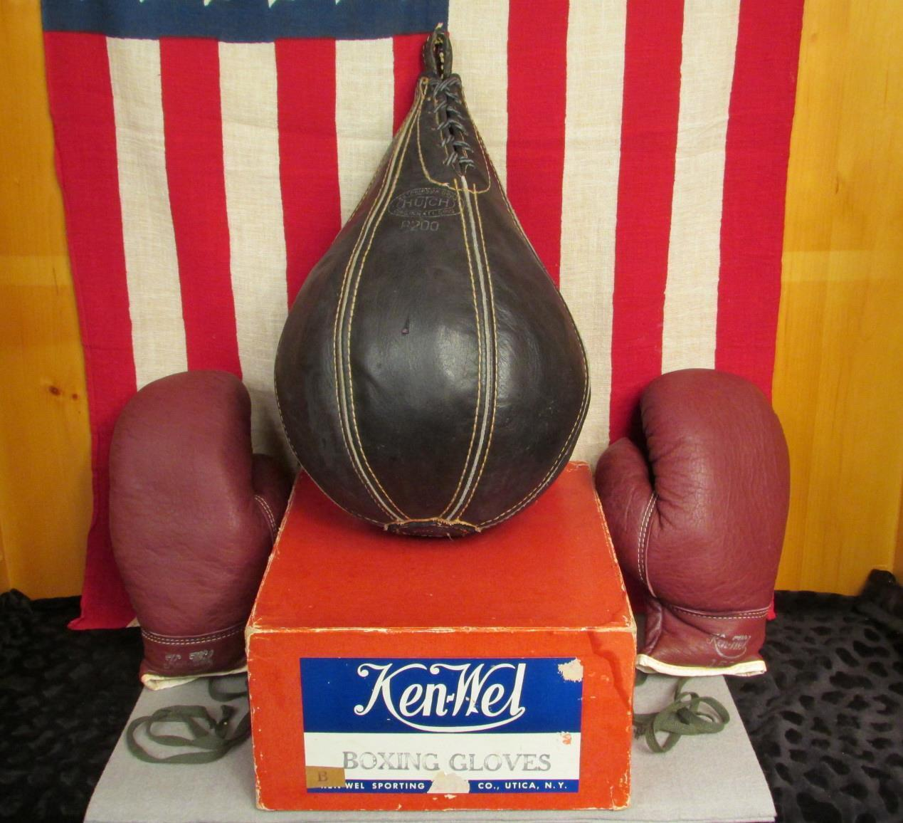 Vintage Hutch Leather Boxing Pun ng Speed  Bag & Ken-Wel G s w Box NOS Nice   online cheap