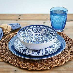 18-Piece-Melamine-Dinnerware-Set-French-Country-Blue-and-White-Member-039-s-Mark