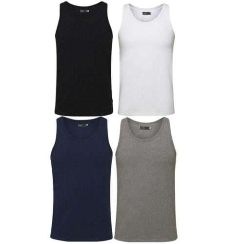 Jack /& Jones New Mens Vest Slim Fit T-shirt Stretchy Plain Lycra Cotton Tee