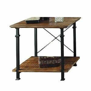 Homelegance Factory Modern Industrial Style End Table Rustic Brown