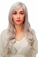 Women's Wig White-grey-mix Curles Wavy Long Side Part Approx. 70 Cm 9204s-51