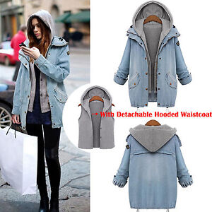 Women-039-s-Winter-Overcoat-Hooded-Jeans-Coat-Jacket-Denim-Trench-Hoodie-Parka-Vest