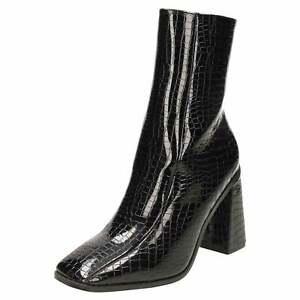 croc patent ankle boots