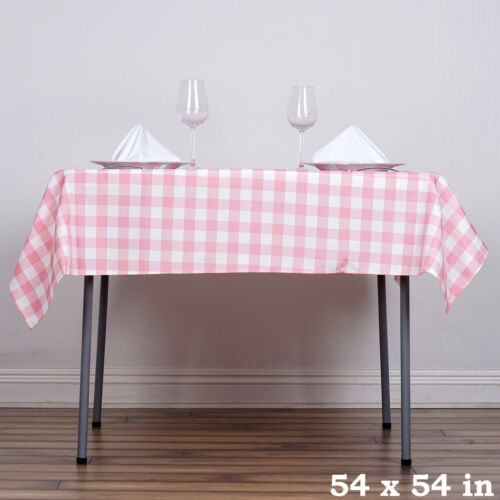 """Rose Quartz Pink White Checkered 54/"""" Square Polyester Tablecloth Country Linens"""