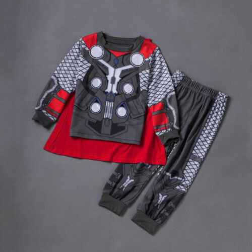 Kids Boys Superhero Costume Pyjamas Sets Captain America Spider-Man Thor Outfits