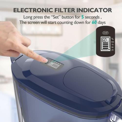 Simpure® Water Pitcher 2.6 L-Electronic Filter Indicator,BPA Free,Bonus 4 Filter