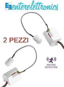 Rilevatore Di Presenza Per Accensione Luci.Mini Sensore Di Movimento A Incasso 360 220v Kit 2 Pz X Accensione