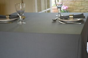 Image Is Loading TABLECLOTH 100 Cotton Plain Dyed Charcoal Grey Square