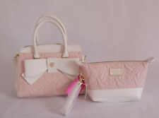 Betsey Johnson TRIPLE COMPT SATCHEL and Cosmetic Bag SET in Blush Quilted Roses!