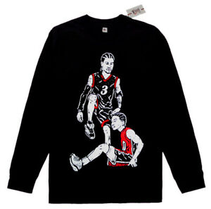 sports shoes 9fc2d 1d6cc Details about Long Sleeve Allen Iverson step over Lue Black Red shirt  basketball vtg jersey