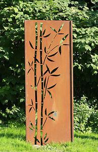 Gartenwand sichtschutz wand bambus neu stahl rost 75x195 for Rost stahl garten