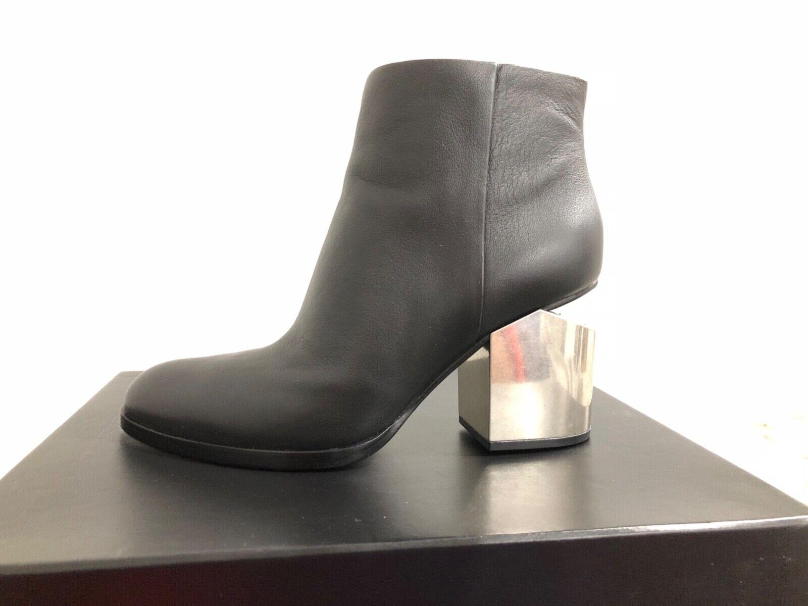 New Alexander Wang Gabi Boots Booties with Silver Metal Heel Size 39 US 9