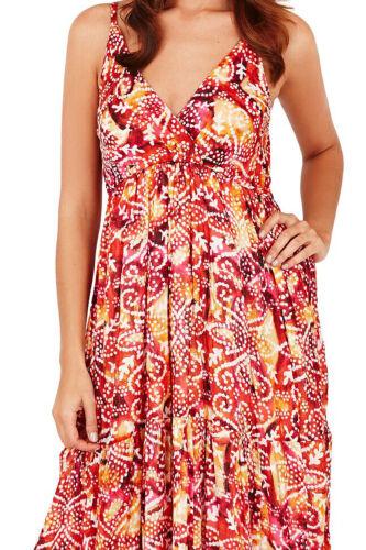 Pistachio Womens Designer Spotted Aztec Beach Dress Ladies Strappy Summer Maxi