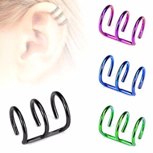 1X Ohrklemme Ear Cuff Helix Cartilage Fake Piercing Ohrringe Ohr Stecker Clip