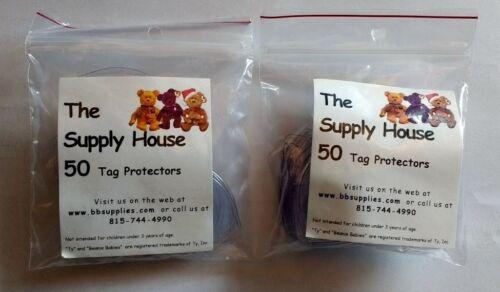 100 TY Beanie Baby Babies Boos Heart Shaped Sleeve Hang Tag Protectors NEW Bag