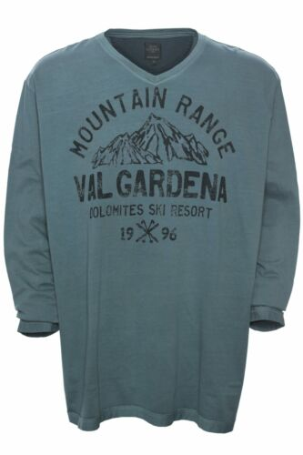 Kitaro T Shirt Longsleeve Herren Langarm Hemd Plusgröße V Ausschnitt Baumwolle