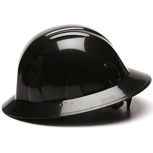 Pyramex Hard Hat Full Brim Black with 4 Point Ratchet Suspension