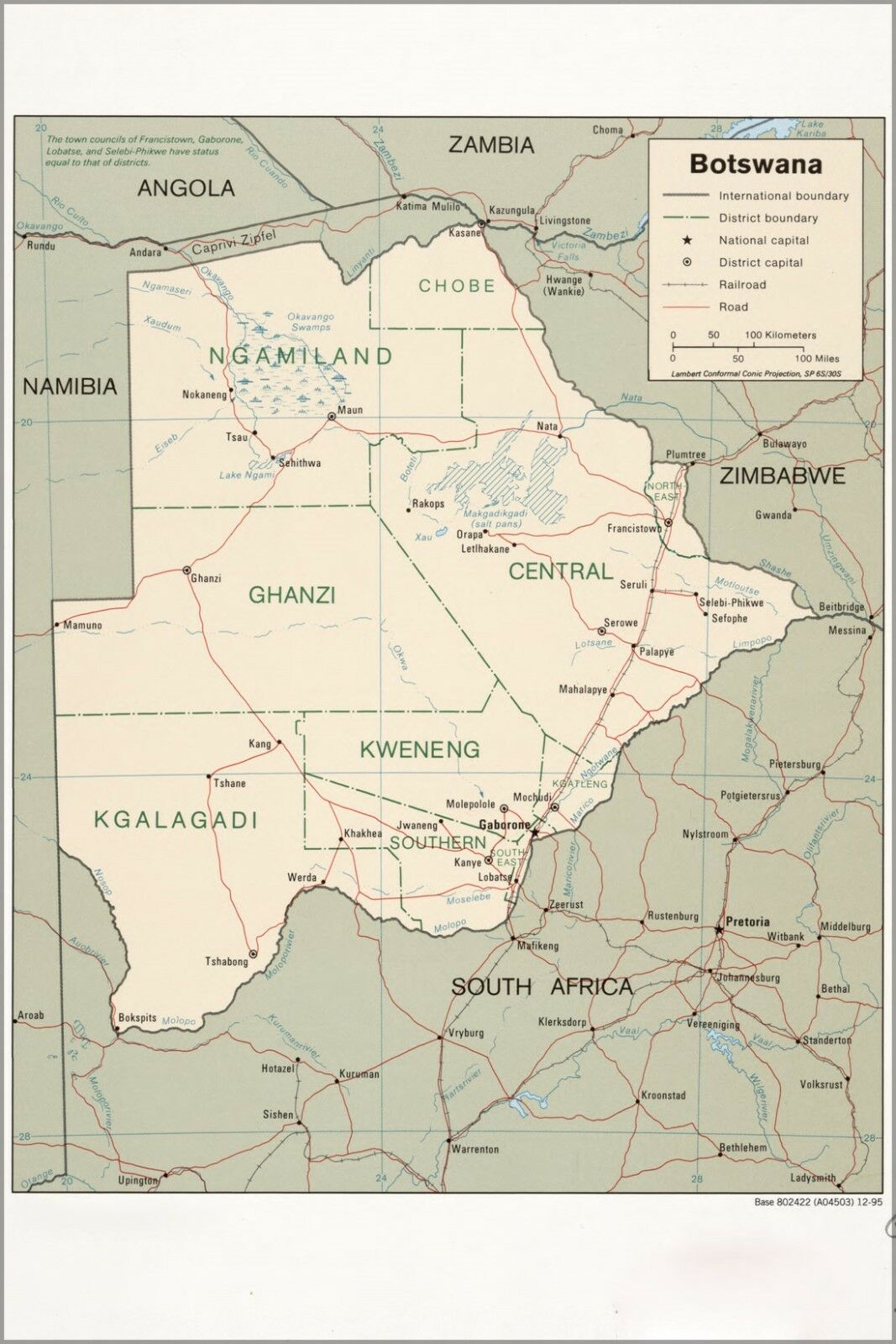 Poster, Many Größes; Cia Map Of Botswana 1995