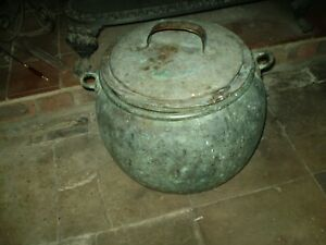 VINTAGE-KITCHENALIA-FRENCH-19th-CENTURY-LARGE-COPPER-VERDIGRIS-COOKING-POT-VGC