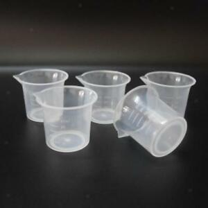 5pcs 25ml Transparent Plastic Lab Graduated Beaker Container Cup Measure