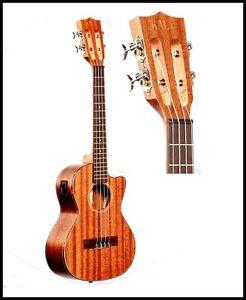kala ka smhte c solid mahogany cutaway electric acoustic tenor ukulele ebay. Black Bedroom Furniture Sets. Home Design Ideas