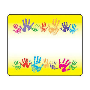 36 rainbow handprints name tag stickers school labels party