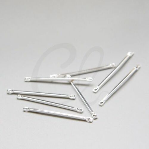 3060C-E-598 2pcs Premium Silver Plated Brass Base Connector-Link Bar 32x1.2mm