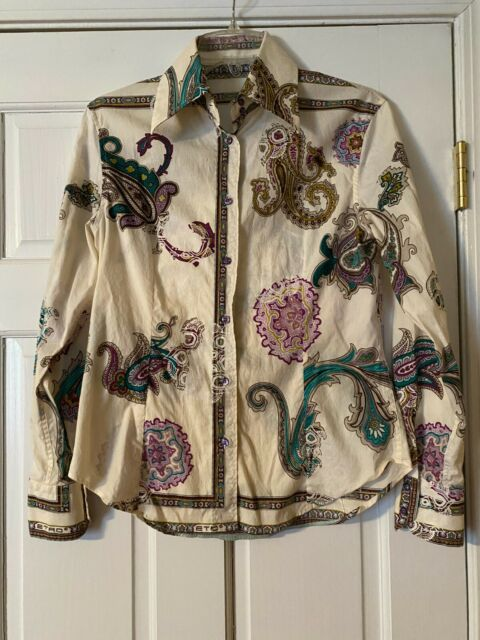 ETRO Blouse Size 44 Paisley Button Down Blouse Long Sleeve Made in Italy
