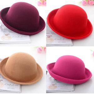 a0d7c468c6d Women Men Chic New Vintage Bowler Top Hat Roll Brim Derby Fedora ...